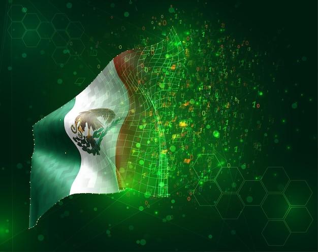 México, vector bandera 3d sobre fondo verde con polígonos y números de datos