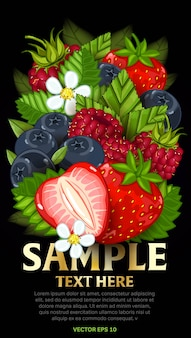 Mezcla de bayas frescas aislado, ilustración vectorial para plantilla de cartel