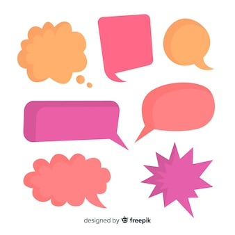 Mezcla de burbujas de discurso cómico en blanco colorido