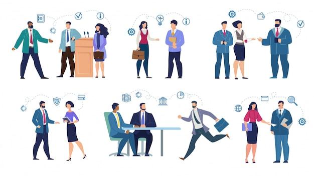 Mezcla de empresarios con carrera en diferentes situaciones