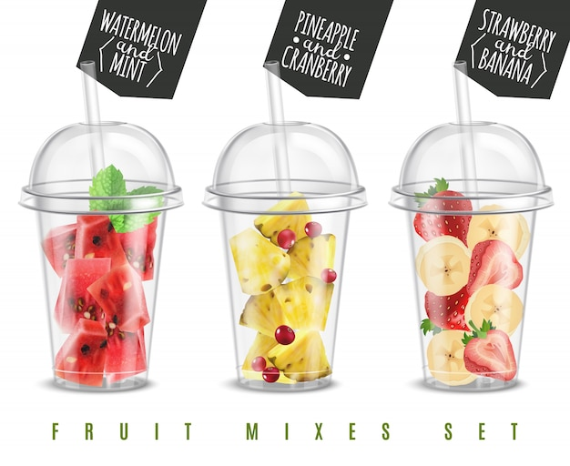 Mezcla de frutas 3 bocadillos de verano realistas en porciones de vidrio de plástico con sandía, piña, fresa, plátano, ilustración vectorial