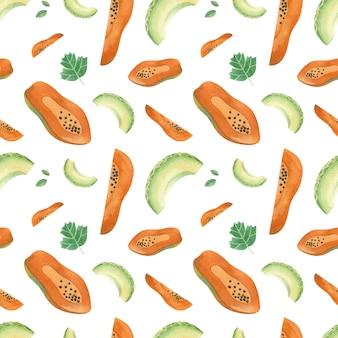 Mezcla frutas handdrawn de patrones sin fisuras