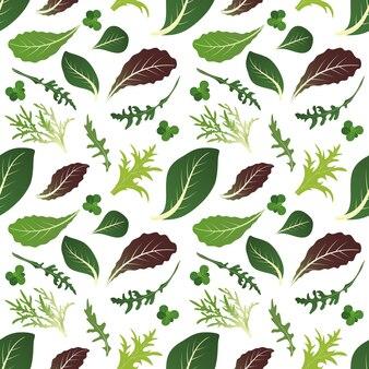Mezcla de hojas de ensalada. rúcula, espinacas, hojas de lechuga, berros y achicoria. patrón sin costuras ilustración.