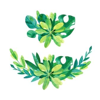 Mezcla de hojas tropicales - conjunto de composición de acuarela. pack de dibujos en acuarela de la selva. imágenes prediseñadas de vegetación
