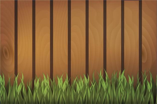 Mezcla de patrón de madera con pasto verde
