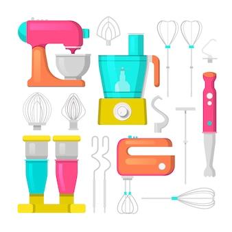 Mezclador de cocina y licuadora conjunto de iconos. equipamiento culinario