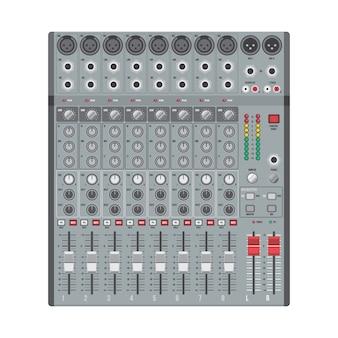 Mezclador de sonido de conciertos de diseño plano con controles deslizantes y entradas