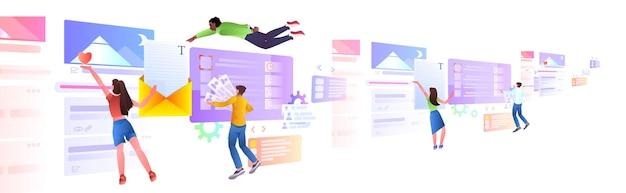 Mezclar el equipo de desarrolladores de carreras creando un sitio web ui programa de desarrollo de aplicaciones web concepto de optimización de software horizontal ilustración de longitud completa