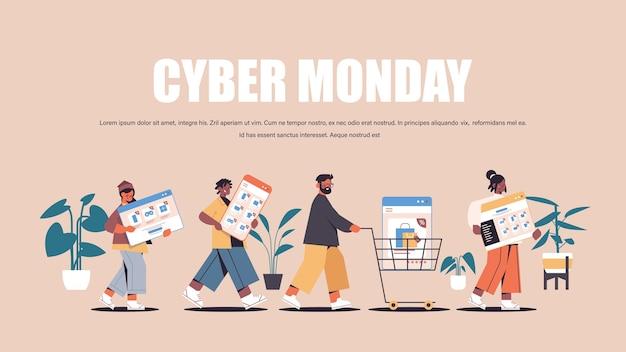 Mezclar la gente de raza corriendo con dispositivos digitales cyber monday gran venta promoción descuento concepto de compras online espacio de copia