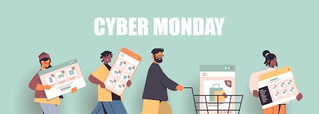 Mezclar gente de raza corriendo con dispositivos digitales cyber monday gran venta promoción descuento concepto de compras online retrato