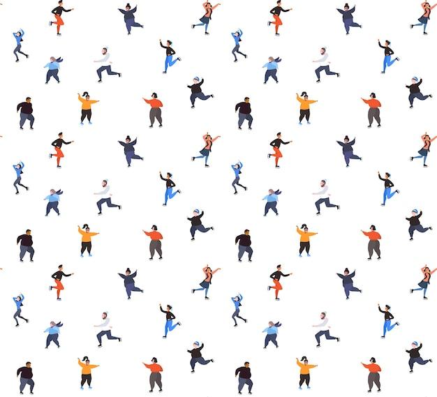 Mezclar la gente de raza patinando en la pista de hielo, la actividad deportiva de invierno, la recreación en las vacaciones concepto de patrones sin fisuras ilustración vectorial de longitud completa