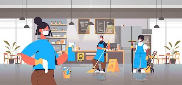 Mezclar limpiadores de carrera en máscaras desinfección de células de coronavirus en café para prevenir la pandemia covid-19 servicio de limpieza desinfección control de epidemia