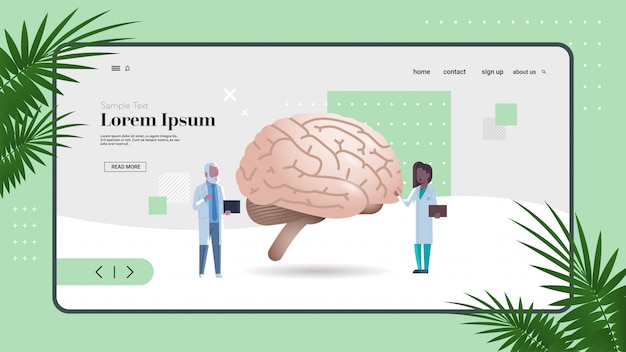 Mezclar los médicos de la carrera de inspección de comprobación del cerebro humano órgano interno examen de salud concepto de medicina espacio integral copia espacio horizontal