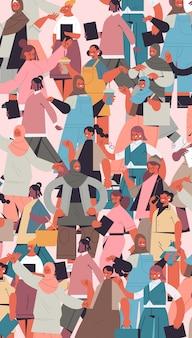 Mezclar a niñas de raza de diferentes nacionalidades y culturas de pie juntas movimiento de empoderamiento femenino poder de las mujeres unión de feministas concepto retrato vertical ilustración vectorial