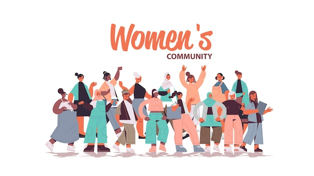 Mezclar las niñas de raza de pie juntas movimiento de empoderamiento femenino comunidad de mujeres unión de feministas concepto horizontal ilustración vectorial