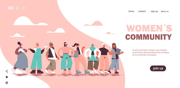 Mezclar a niñas de raza de pie juntas movimiento de empoderamiento femenino comunidad de mujeres unión de feministas concepto página de aterrizaje horizontal espacio de copia de longitud completa ilustración vectorial