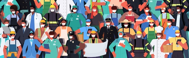 Mezclar personas de raza de diferentes ocupaciones parados juntos concepto de celebración del día del trabajo hombres mujeres con máscaras para prevenir el coronavirus ilustración vectorial horizontal