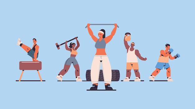 Mezclar personas de raza haciendo ejercicios físicos trabajando en el concepto de estilo de vida saludable de entrenamiento físico de gimnasio