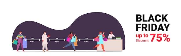 Mezclar personas de raza en máscaras comprando ropa clientes manteniendo la distancia para evitar el coronavirus venta de fridy negro concepto de distanciamiento social horizontal ilustración vectorial de longitud completa