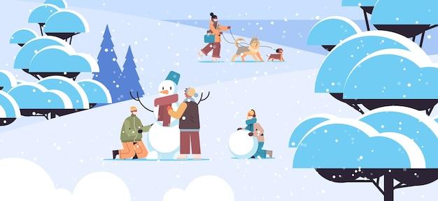 Mezclar personas de raza en máscaras divirtiéndose en invierno hombres mujeres pasando tiempo en el parque actividades al aire libre concepto de cuarentena de coronavirus ilustración vectorial horizontal de longitud completa