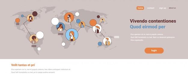 Mezclar raza gente avatar medios de comunicación social concepto de comunicación global conexión de red de internet mapa del mundo