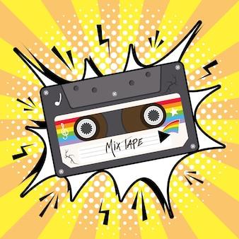 Mezcle el cassette retro de la cinta en el diseño de la burbuja de la explosión, la vendimia de la música y la ilustración del vector del tema del audio