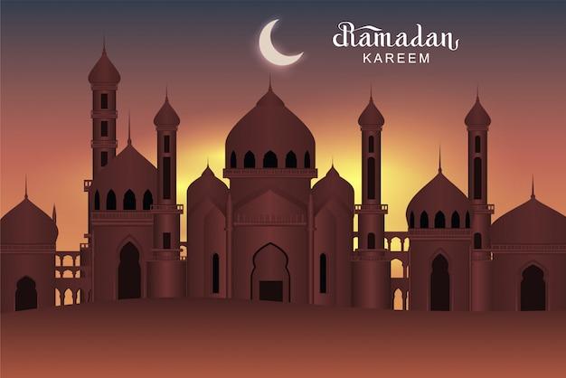 Mezquita árabe de la ciudad santa de la noche. tarjeta de felicitación de ramadán kareem