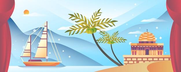 Mezquita y barco en la playa ilustración islámica
