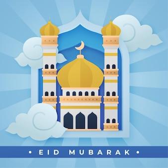 Mezquita en el cielo eid mubarak