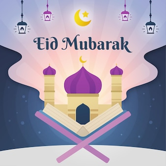 Mezquita y corán abierto eid mubarak