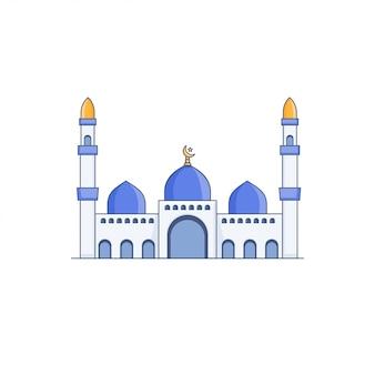 Mezquita de cúpula azul vector icono ilustración