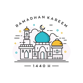 Mezquita edificio vector logo / ramadan plantilla de diseño del tema