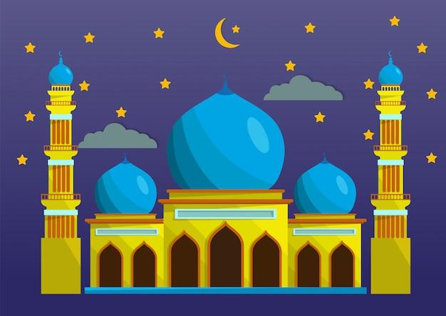 Mezquita de estilo plano aislada sobre fondo nocturno