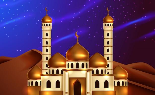 Mezquita de golden dome en la vista del cielo nocturno del desierto. ilustración