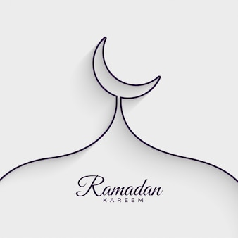 Mezquita hecha con línea ramadan kareem fondo
