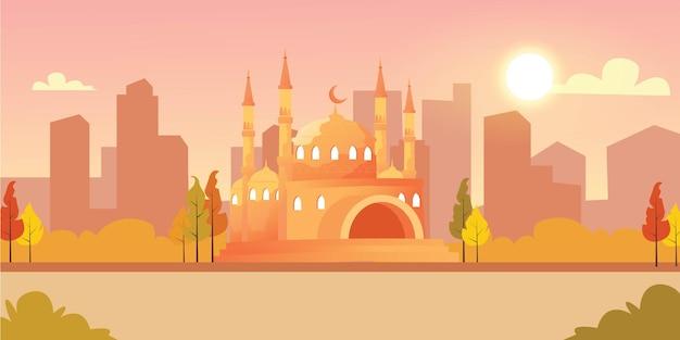 Mezquita y la ilustración del parque de la ciudad.