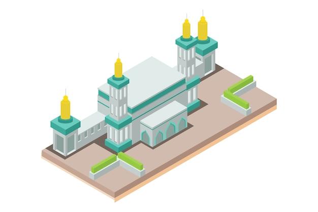 Mezquita isométrica musulmanes, ilustración vectorial