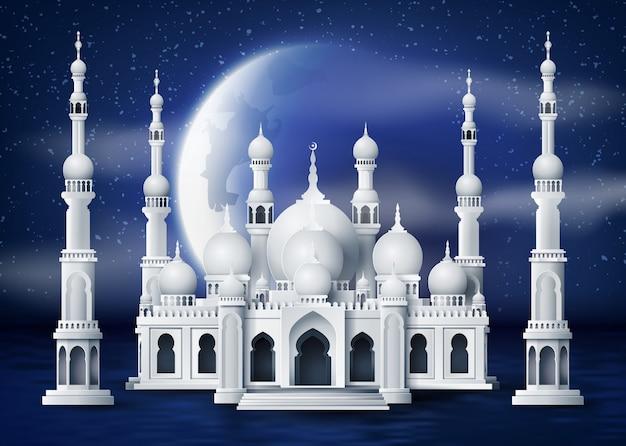 Mezquita en la luna de la noche