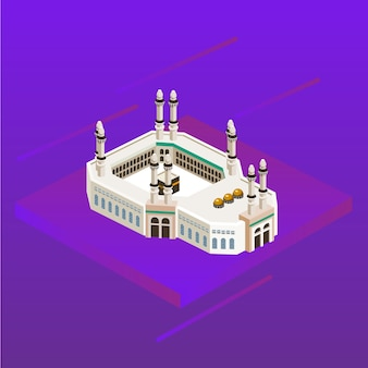 La mezquita de la mezquita arabia islam musulmán dirección icono 3d kaaba