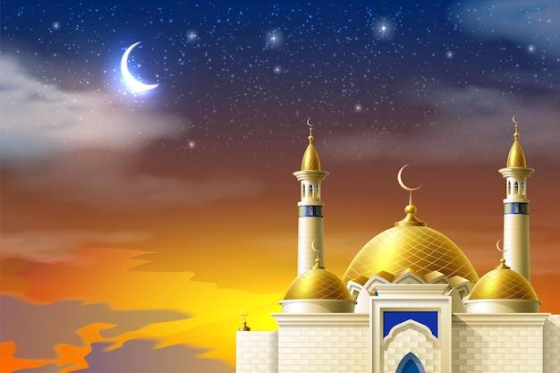 Mezquita musulmana realista sobre fondo de cielo estrellado nocturno con luna y puesta de sol roja brillante