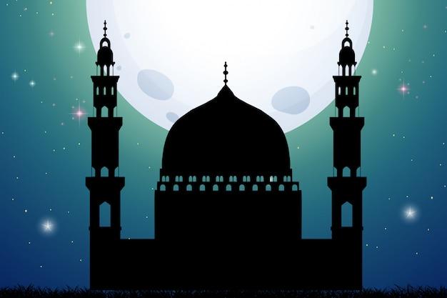 Mezquita de silueta en el fondo de la noche de luna llena