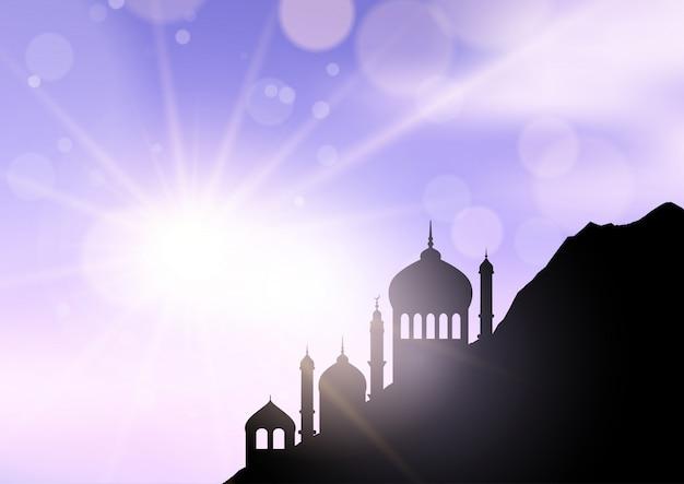 Mezquita silueta fondo de ramadán