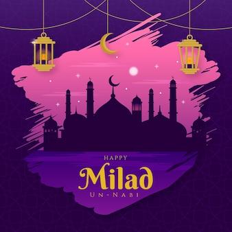 Mezquita de tarjetas de felicitación milad-un-nabi al atardecer