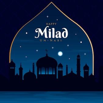 Mezquita de tarjetas de felicitación milad-un-nabi en la noche