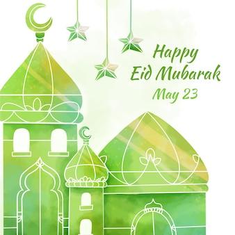Mezquita verde acuarela eid mubarak