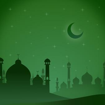 Mezquita verde tema de ilustración