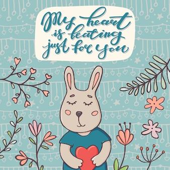 Mi corazón está latiendo solo para ti, tarjeta de felicitación del día de san valentín con un lindo conejito sosteniendo el corazón