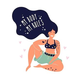 Mi cuerpo. mi cita motivacional de reglas. feminismo corporal positivo con amor a la propia figura, libertad femenina, poder femenino. ilustración plana de mujer joven.