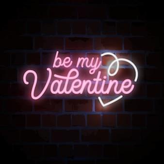 Sé mi letrero de neón de letras de san valentín para el día de san valentín