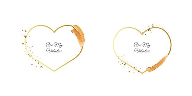 Sé mi marco de san valentín con trazo de pincel dorado.